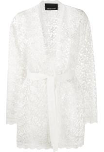Ermanno Ermanno Jaqueta Translúcida Com Renda Floral - Branco