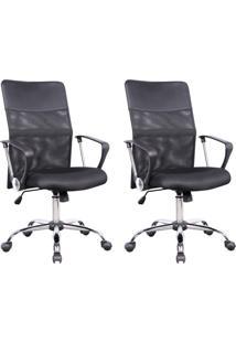 Conjunto Com 2 Cadeiras De Escritório Diretor Giratórias Vancouver Com Braços Preto