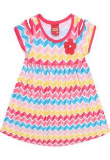 Vestido Infantil - Meia Malha - Geométrico - Vermelho - Kyly - 1