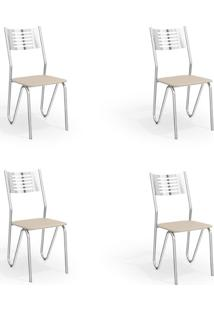 Conjunto Com 4 Cadeiras De Cozinha Napoles Cromado E Nude