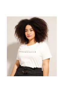 "Camiseta Plus Size ""Mademoiselle"" Manga Curta Decote Redondo Off White"