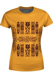 Camiseta Estampada Baby Look Over Fame Tribal Africana Bege