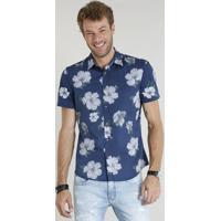 70ac3964f02d7 Camisa Masculina Comfort Estampada Floral Manga Curta Azul Marinho