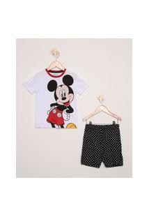 Pijama Infantil Tal Pai Tal Filho Mickey Mouse Manga Curta Branco