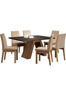 Sala De Jantar Madesa Yasmin Mesa Tampo De Madeira Com 6 Cadeiras Preta/Bege