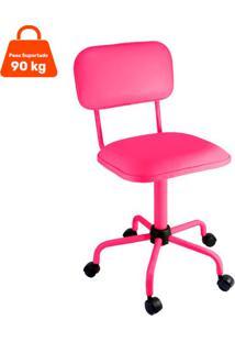 Cadeira De Escritório Secretária Color Fixa Corano Rosa