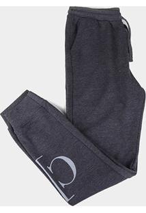 Calça Moletom Juvenil Calvin Klein Circular Com Punho Reat Masculina - Masculino-Chumbo