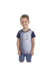 Pijama Curto Estampado Jeans Infantil Menino - Toque Kids