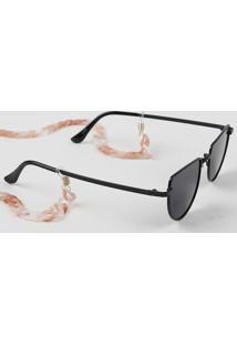 Corrente Para Óculos Feminina De Acrílico Marmorizado Dourado