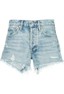 Agolde Short Jeans Destroyed 'Parker' - Azul