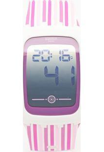 Relógio Digital Listrado Svqw100- Branco & Roxo- Swaswatch