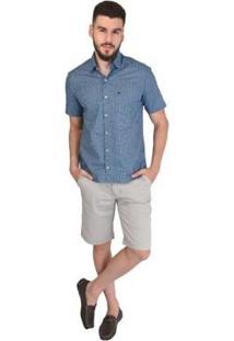 Bermuda Off Wear Gabardine Stretch Masculina - Masculino-Cinza