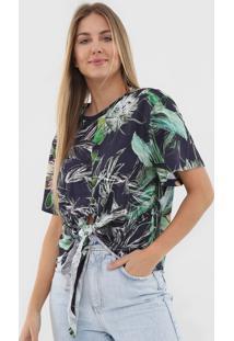 Camiseta Colcci Folhagem Azul-Marinho/Verde - Kanui