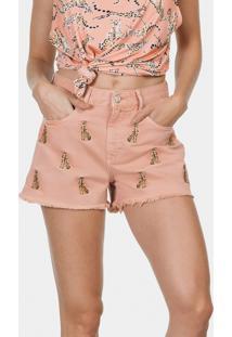 Shorts Miami Sarja Com Bordado Rosa Apricot - Lez A Lez