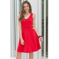 521b23106 Posthaus. Vestido Evasê Com Recortes Vermelho