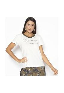 Camiseta Fashion4You Manga Curta Ysl Branca Branco