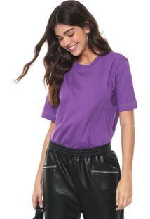 Camiseta Colcci Pespontos Contrastantes Roxa - Kanui