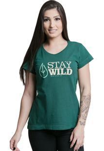 Camiseta Quatorze 08 Stay Wild Verde Escuro