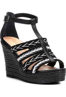 fe0c4c0f8c Sandália Plataforma Couro Shoestock Tranças Feminina - Feminino