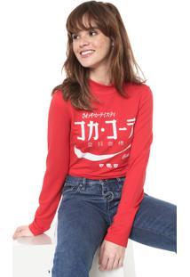 Camiseta Coca-Cola Jeans Aroma Estampada Vermelha - Vermelho - Feminino - Viscose - Dafiti