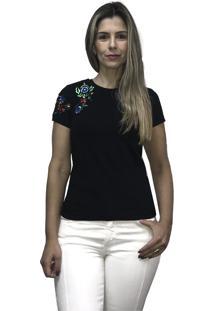Camiseta Hifen Bordada Em Floral Preto - Kanui