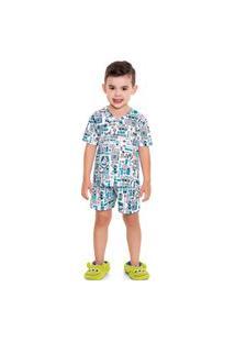 Pijama Curto Infantil Menino Game Branco - Fakini