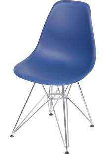 Cadeira Eames Polipropileno Azul Marinho Base Cromada - 49314 Sun House