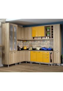 Cozinha Completa Com Balcão Com Tampo 11 Peças 16 Portas Sicília Multimóveis Argila/Amarelo