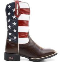 fde8f714a3 Bota Texana Bandeira Eua Bico Quadrado - Masculino-Marrom+Azul