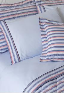 Jogo De Lençol 200 Fios Michel Azul Com Barrado - Scavone