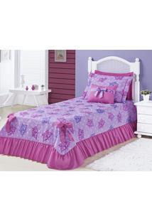 Kit Cobre Leito Meninas (Cobre Leito + Porta Travesseiro) Solteiro Laila Coroa Princesa Pink Estampa Coroa Princesa Com 6 Peças - Aquarela - Kanui