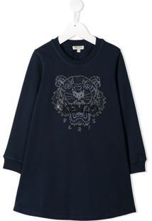 Kenzo Kids Vestido Com Tigre Bordado - Azul