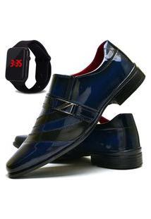 Sapato Social Masculino Com Verniz Asgard Com Relógio Led Db 632Lbm Azul