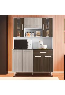 Cozinha Compacta Com Tampo Gabi - Poliman - Branco / Rovere / Amêndoa