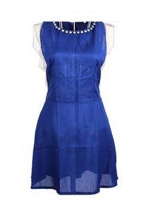 Vestido Saída De Praia Azul Detalhes Tule