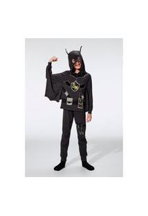 Pijama Hering Infantil Malha Super Morcego Preto