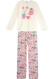 Pijama Feminino Composê Longo Moletinho Xícaras