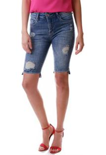 Bermuda Multi Ponto Denim Ciclista - Feminino-Jeans