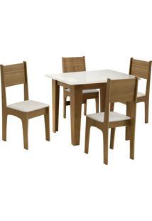 Conjunto De Mesa Para Sala De Jantar Com 4 Cadeiras Atlanta-Dobue - Mel / Off / Bege