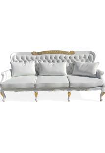 Sofá Luxo 3 Lugares Entalhado Madeira Maciça Design De Luxo Peça Artesanal