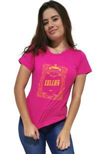 Camiseta Feminina Cellos Retro Frame Premium Rosa - Kanui