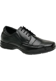 Sapato Social Masculino Couro Cadarço Liso Bico Quadrado - Masculino-Preto