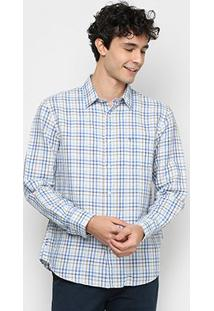 Camisa Xadrex Vr Manga Longa Masculina - Masculino-Azul