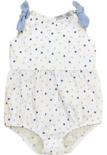 Body Bebê Pandi Laço Estampado Feminino - Feminino-Branco+Azul