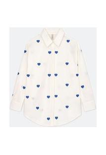 Camisa Alongada Em Tricoline Com Bordados Corações | Blue Steel | Branco | G