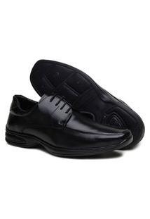 Sapato Social Masculino Confort De Amarrar Moderno Preto