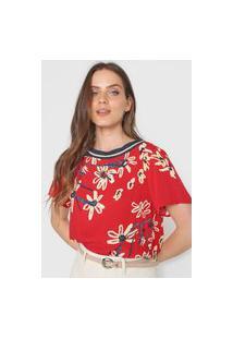 Camiseta Oh, Boy! Floral Aquarela Vermelha