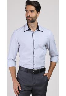 Camisa Masculina Comfort Maquinetada Manga Longa Azul Claro
