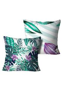 Kit 2 Capas Para Almofadas Decorativas Love Decor Floral Multicolorido