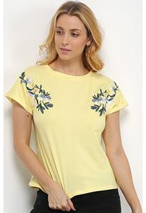 Camiseta Pérola Bordada Manga Curta Feminina - Feminino-Amarelo